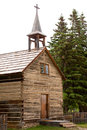 Historic log church Dunevegan Alberta AB Canada Royalty Free Stock Photo
