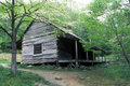 Historic log home in the Smokies during spring. Royalty Free Stock Photo