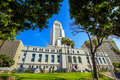 Historic Los Angeles City Hall with blue sky Royalty Free Stock Photo