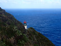 Historic makap uu point lighthouse light makapu u on cliffside of the island of oahu with view of pacific ocean it has the largest Stock Photography