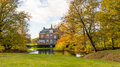 Historic mansion old in the netherlands in autumn Royalty Free Stock Images