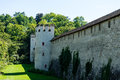 Historic medievil castle with tower in summer Royalty Free Stock Photo