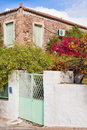 Historic mediterranean home with flower garden Royalty Free Stock Photography