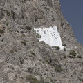 Historic monastery on cliffs brilliant white ancient and of panagia hozoviotissa along the of amorgos island greece Royalty Free Stock Photos