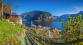 Historic mountain village of Hallstatt with lake in fall, Austria Royalty Free Stock Photo