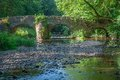 Historic nister bridge westerwald germany near monastery of marienstatt in Stock Image