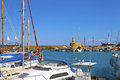 Historic old harbour in kyrenia cyprus boats and yachts the at north Royalty Free Stock Photo