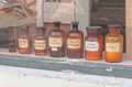 Historic old pharmacy bottles Royalty Free Stock Photo