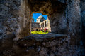 The historic old west spanish mission san jose founded in interesting view of court yard of through a window a very thick Stock Photo