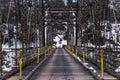 Historic Pond Eddy Truss Bridge over Delaware River Royalty Free Stock Photo
