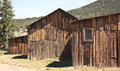 Historic ranch barns view of three old traditional timber plank on a Stock Photography