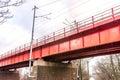 Historic red railroad bridge in Bratislava