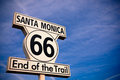 Historic route santa monica sign the with a sky blue background Royalty Free Stock Photography
