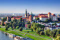 Historic royal wawel castle cracow poland park vistula river aerial view sunset Royalty Free Stock Photos