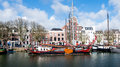 Historic sailing cargo ship moored in the Dutch city of Dordrech Royalty Free Stock Photo