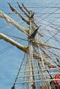 Historic sailing ship in hamburg port old Stock Photography