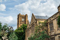 Historic sandstone clocktower at the university of melbourne an old australia one australia s oldest universities founded in Royalty Free Stock Images