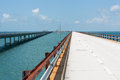 The historic seven mile bridge was built by henry flagler as part of overseas railroad to key west after a hurricane shut down Royalty Free Stock Images