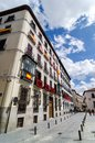 A building with Spanish flags in the windows. Madrid Spain Royalty Free Stock Photo