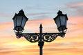 Historic street lamp and beautiful sunset sky Royalty Free Stock Photo