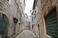 Historic streets of Stari Grad town in Croatia Royalty Free Stock Photo