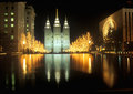 Historic Temple and Square in Salt Lake City at night, during 2002 Winter Olympics, UT Royalty Free Stock Photo