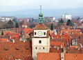 Historic tower in rothenburg ob der tauber old of the city fortification of germany Royalty Free Stock Images