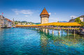 Historic town of lucerne with famous chapel bridge switzerland city center the city s symbol and one the s main tourist Stock Images