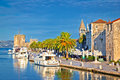 Historic Trogir waterfront architecture view Royalty Free Stock Photo
