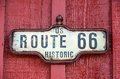 Historic us route sign framed for on a red building Royalty Free Stock Photography