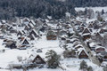 Historic Village of Shirakawa-go in winter Royalty Free Stock Image