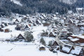 Historic Village of Shirakawa-go in winter Stock Photo
