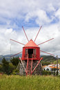 Historic windmill near horta faial azores at conceicao Stock Photo