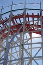Historic wooden roller coaster Giant Dipper tracks Royalty Free Stock Photo