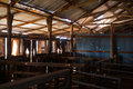 Historic woolshed interior of mt wood sturt national park outback new south wales australia Stock Photography