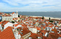 Historical alfama district at lisbon portugal the east of with tagus river the background Royalty Free Stock Photography