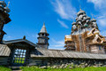 Historical architectural ensemble on the island of Kizhi in Russ Royalty Free Stock Photo