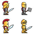 Historical battle characters set of warriors perfect for game animations each character consist of head body two arms and two legs Royalty Free Stock Images