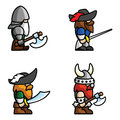 Historical battle characters set of warriors perfect for game animations each character consist of head body two arms and two legs Stock Photography