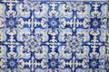 Historical blue tiles from oriental china/ asia Royalty Free Stock Photo