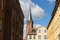 Historical buildings and a church steeple in a german old town the of st lawrence st laurentius the of berlin köpenick Stock Images