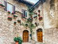 Historical buildings in the old city center of Assisi, Italy Royalty Free Stock Photo
