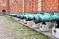 Historical cannons view of the cannon against the wall Royalty Free Stock Photography