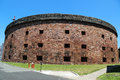 Historical castle williams on governors island in new york harbor july july has three levels of Royalty Free Stock Photos