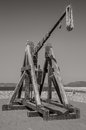 Historical catapult picture of taken in alghero city in sardinia italy Royalty Free Stock Images