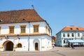 Historical centre of medias medieval city in transylvania romania july Royalty Free Stock Photo