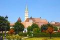 Historical centre of medias romania medieval city in transylvania Stock Photos