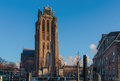 Historical city of dordrecht with grand church and old houses Stock Images