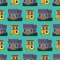 Historical city modern world seamless pattern distinctive house building front face facade vector illustration
