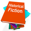 Historical fiction book stack means books from history meaning Stock Photos